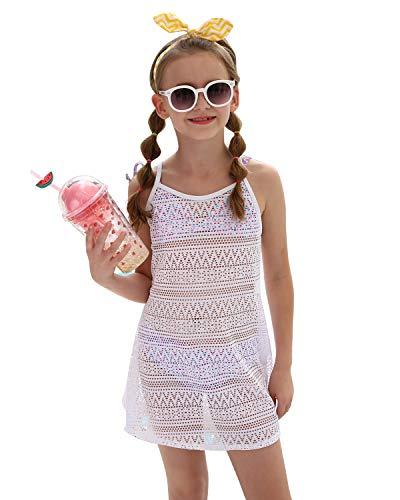DUSISHIDAN Mädchen Strandkleid Strandponcho Kinder Bikini Cover Up Sommer Badeanzug Weiße XL (Badeanzug Up Cover Mädchen Weißen)