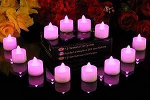 PK Green Lot de 12 bougies à piles, sans flammes, scintillantes, à LED rose - décoration d'intérieur