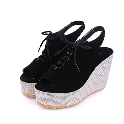 Toamen Las Mujeres De Las CuñAs Sacuden Los Zapatos Con Plataforma Y Sandalias De Cabeza (38/Longitud del pie:236-240mm, Negro)