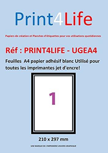 50 feuilles A4 papier adhésif blanc; Utilisé pour toutes les imprimantes jet d'encre!