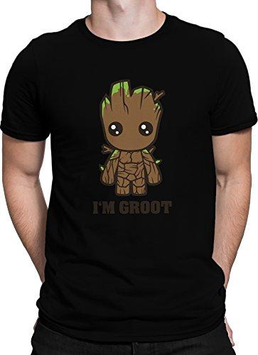 Ohne Superhelden Kostüm (Guardians of the Galaxy Comic Baby I AM GROOT Film / Premium Fun Motiv T-Shirt XS-5XL mit Aufdruck / Ideales Geschenk, Color:Schwarz,)