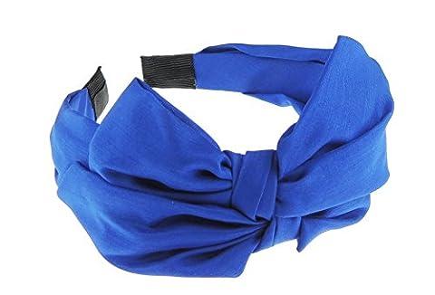 Ladies Retro Chiffon Draped Bow Floral Pattern Headband Alice Band (Royal Block)