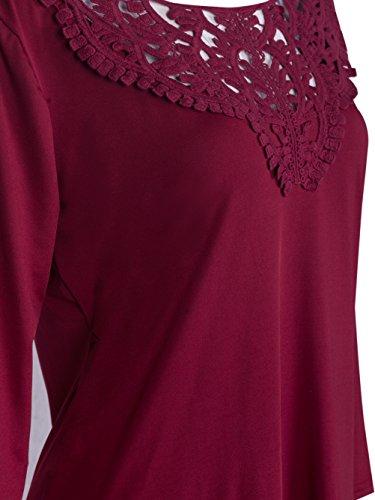 Blooming Jelly Damen Weinlese-H?kelarbeit-Spitze-Blusen-Oberseiten-Stickerei-Hemd Rot