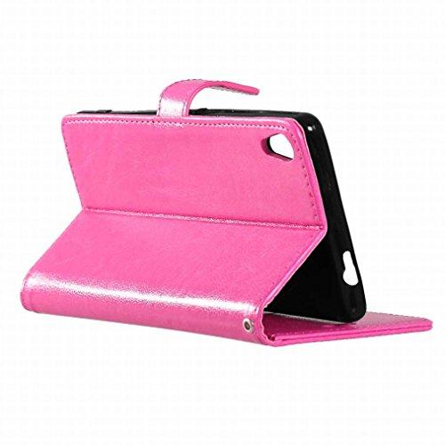 Custodia Sony Xperia XA Cover Case, Ougger Portafoglio PU Pelle Magnetico Stand Morbido Silicone Flip Bumper Protettivo Gomma Shell Borsa Custodie con Slot per Schede Colore Verde Rosa