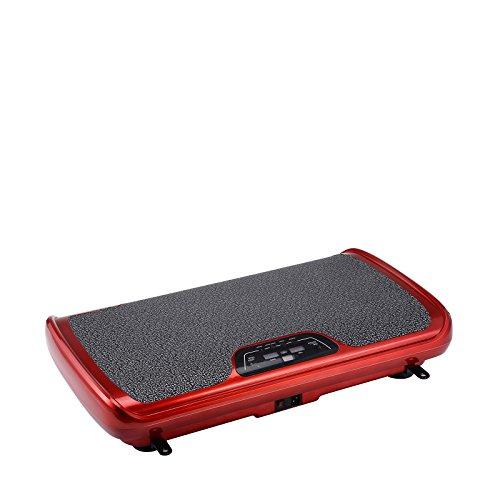 Plateforme Vibrante VibroSlim Tone - Machine de Fitness à Oscillation + DVD d'exercices GRATUIT, Panneau mural et Bandes de Résistance (Rouge)