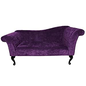 Designer Chaise Sofa upholstered in a Rich Purple Veluto fabric