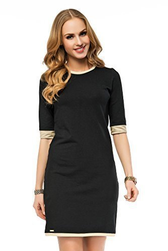 FUTURO FASHION Elegant Office Column Dress 3/4 Sleeve Crew Neck FA413 Black 10 UK (M)