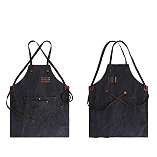 WYFDM Apron mit Taschen und Adjustable Straps for Butchers Kitchen Cooks Restaurant Bistro BBQ, geeignet für Männer und Frauen. Staub und Flecken aus Wasserdichtigkeit verhindern,Black