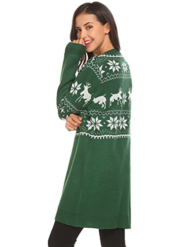 Damen Herbst Winter Weihnachtspullover Strickpullover Lang Cardigan Strickmantel im Weihnachts-Look PAT3