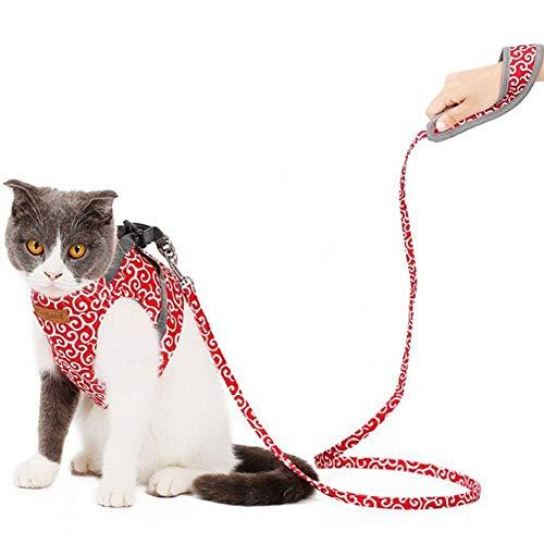 knowledgi Haustier Zugseil Katzengeschirr Katzenleine Katzengeschirr und Leine Katze Weste Kleidung ausbruchsicher Soft Atmungsaktives