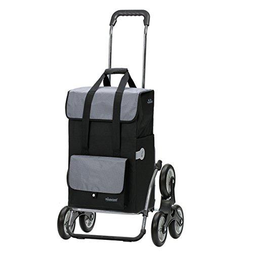 Andersen Einkaufstrolley Royal Stahlgestell als Treppensteiger klappbar und 43 Liter Einkaufstasche Vektor schwarz mit Kühlfach