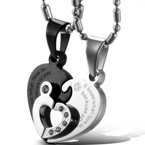 Oidea collana per coppia lovers collana in acciaio inox con pendente puzzle cuore