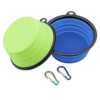 Ewolee Gamelle Chien Pliable Voyage, Chien Bol Portable à Eau ou Alimentaire pour Moyen à Grands Chiens, Grand Taille Diamètre 17.5 Centimètre,Bleu et Vert