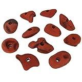 ALPIDEX 11 presas de escalada de tamaños M y L - adecuadas para todo escalador, joven o mayor, principiante o profesional!!, Color:rojo-moteado