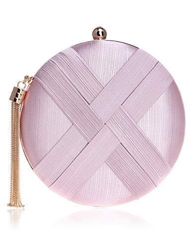 Damen Runde Abendtasche Satin Mini Handtasche mit Metallic Fransen Luxus Clutch mit Kette Schultertasche Umhängetasche - Pink