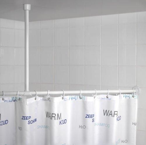 duschvorhang aufhaengung WENKO 19213100 Deckenstütze für Teleskop-Duschstange, Plastik, Weiß