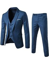 Harrms Hommes Costumes 2 boutons Affaires Costume en trois parties Manteau + Veste +Pantalons pour Réunion ,Fête ,Mariage