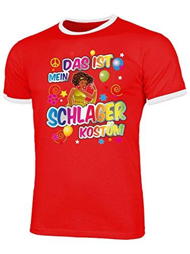 Schlager Kostüm Herren T Shirt Motto Party Karneval Fasching Verkleidung Schlagerkleidung Mottoparty Paar Deko Disco Weste Hut Rot Weiss (Mottoparty Für Ideen Lustige Erwachsene)