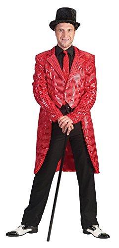 Pailletten Frack für Herren Rot Gr. 48 50 für Karneval Faschingoder (Las Vegas Shows Kostüme)
