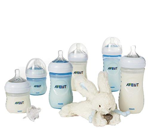 Philips Avent Set de 6 Biberons Natural en plastique + Sucette + Doudou Lapin Bleu