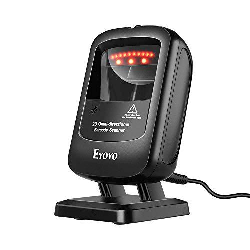 Eyoyo 1D 2D QR Lector de Código de Barras,Escáner Desktop Omnidireccional de Escritorio con Cable...