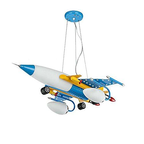ALUK-Nice chandelier Lustre d'avion en Fer forgé créatif Dessin animé Art Oeil garçon Chambre d'enfant éclairage LED avec télécommande segmentée