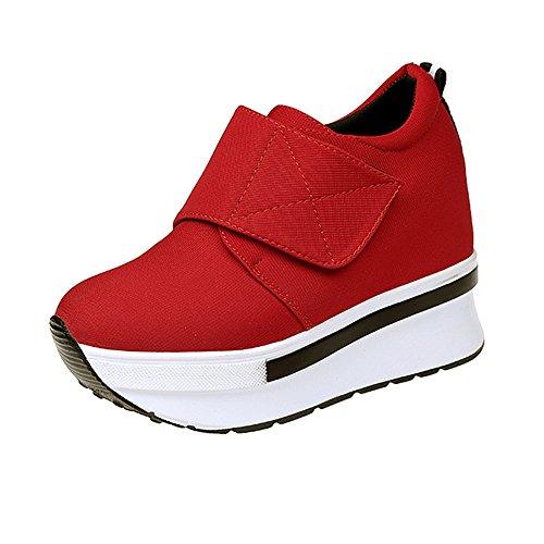 Damen Sneaker Mädchen Mode Laufschuhe Freizeit Leder Freizeitschuhe Sportschuhe mit Reißverschluss... (EU:36, Rot - D)