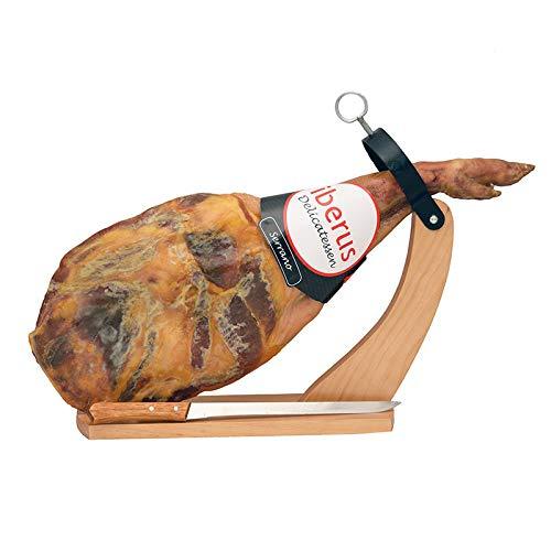 Serrano Schinken Gran Reserva mit Bock und Messer | 4,4 Kg. Vorderschinken | Spanischer Schinken