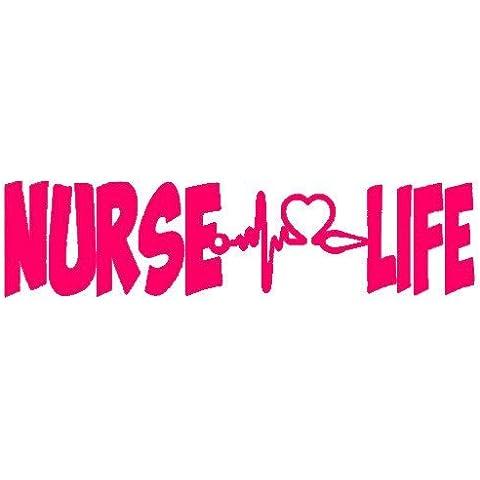 Nurse Life Stethescope (6 15,24 cm a forma di cuore, colore: rosa, Camion vinile auto-adesivo (Rosa Car Care)