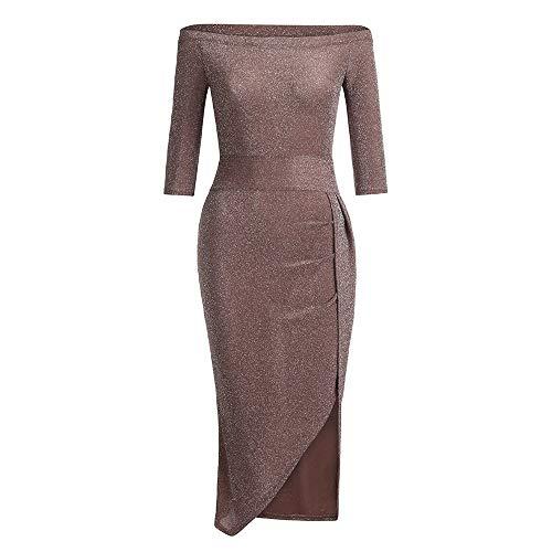 OIKAY cocktailkleid Kleider Frauen Schulterfrei Hohe, Aufgeschnittene, figurbetontes Kleid Langarm Kleider Abendkleider Knielang(Kaffee,EU-42/2XL)
