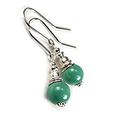 Jade Green Swarovski Pearl Earrings with Sterling Silver Ear Wires Gift Box by Diosa Jewellery