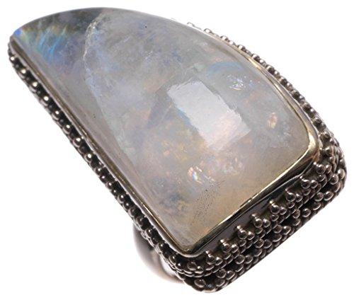 stargems (TM) natur Top Qualität handgefertigten mexikanischen Rainbow Mondstein 925Sterling Silber Ring, UK Größe N (Silber Pierre Kostüme)