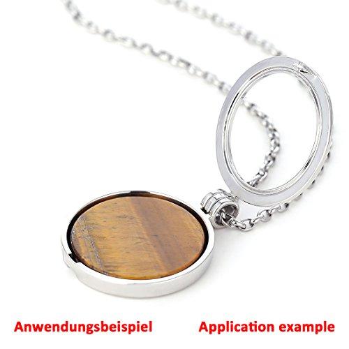 Morella Damen Coin 33 mm Edelstein Lapislazuli Chakren Scheibe Halsketten-Anhänger und zur Stärkung - 2