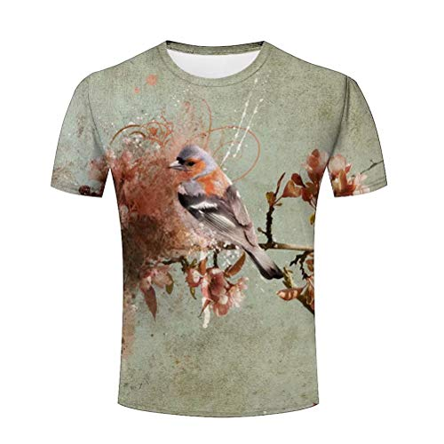 3D Graphic T Shirt Watercolor Bird Wildlife Painting T Shirts for Men Short Sleeve Casual Tee L