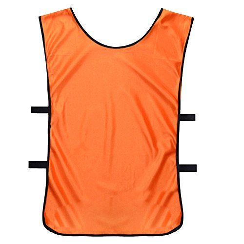 Lmeno Soccer Bavaglino Divise Pettorine Calcio Rete Magliette Casacche Rapida Essiccazione Calcetto Squadre Allenamento Pettorina Abbigliamento Sportivo per Adulto/Bambino Arancia - XL(Adulto)
