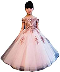 KAIYANAAT Girls Net Party Frock (kg-397_Peach)