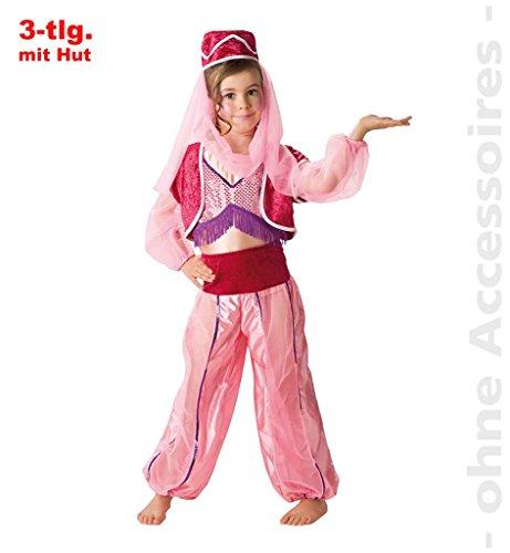 Kinderkostüm Jeannie 3-tlg. mit Kopfbedeckung Orientkostüm Mädchenkostüm Arabisch (128)