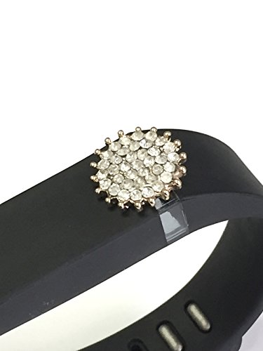 BSI 1pc Small Black Color Band with Jewelry Crystals Decoration /Sunflower with White and Gold Crystal Diamonds/ for Fitbit FLEX Only With Metal Clasp Replacement /No tracker/+ Nice Crystals Feather Brooch