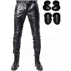 "Pantalones de Cuero - Pantalones de moto - Pantalón de piel sintética para hombre - Negro (S- (Waist 31.5""))"
