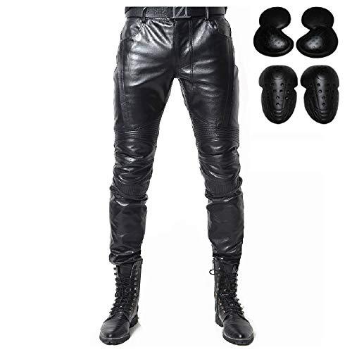 """Pantaloni da moto in pelle pantaloni da uomo moto per motocicletta, moto, biker, jeans - colore nero (L- (Waist 34.5""""))"""