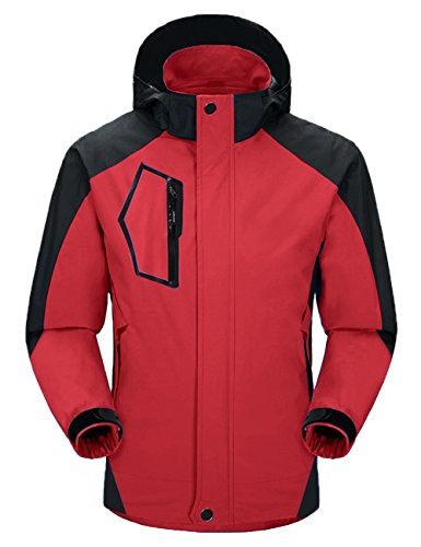 Aibrou Herren Wasserdicht Jacke Regenjacke Windbreaker mit abnehmbare Kapuze Rot