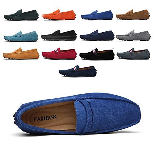AARDIMI Herren Mokassins Bootsschuhe Wildleder Loafers Schuhe Flache Fahren Halbschuhe Beiläufig Slippers Hausschuh (40 EU, Z-Königsblau)