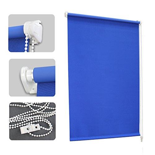 Auralum® Blu opaca Tenda Veneziana 100cmx175cm Plissettata Oscurante Avvolgibile per Finestre Porta Senza Viti Klemmfix Oscurante Poliestere