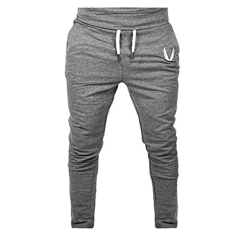 Clearance Bestoppen Mens Casual Jogging Walking Trousers,Slim Fit Plus Size Training Pants Cotton Gym Fitness Leggings Tracksuit Bottoms Elastic Solid Sweatpants Sportwear for Men (S, Deep Gray)
