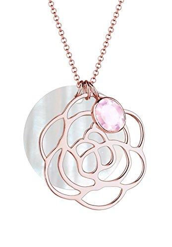 Elli Damen-Halskette Perlmuttscheibe Blume Rosen-Anhänger 925 Silber Quarz rosa Brillantschliff - 0112112214_70 - 70cm Länge - Rose Anhänger Quarz