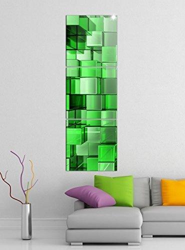 Kunst Leinwand-druck - (Leinwandbild 3tlg 3D Effekt grün Mosaik Quadrate Säule Block Hintergrund abstrakt Kunst Bilder Druck auf Leinwand Vertikal Bild Kunstdruck mehrteilig Holz 9YA3692, Vertikal Größe:Gesamt 30x90cm)