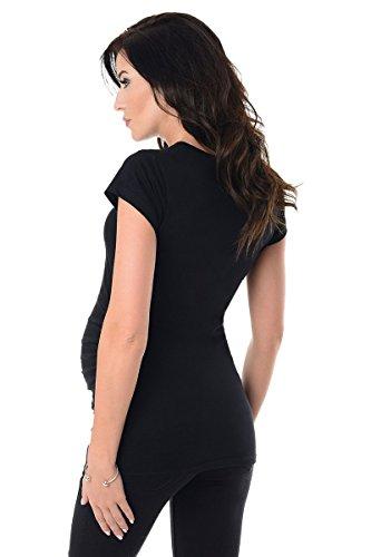 Purpless Maternity Umstands T-Shirt Schwangerschaft Top 5025 Black
