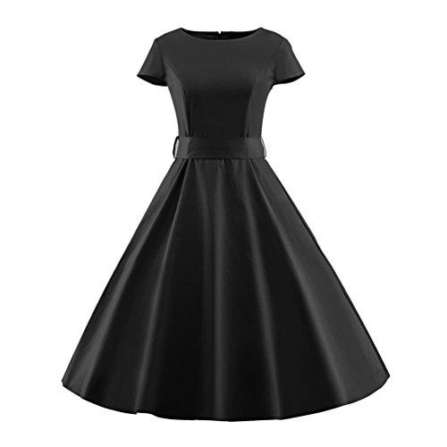 YouPue Femmes des Années 50 Rétro Robe Rockabilly Swing Cocktail Party Robes Solide Couleur Noir