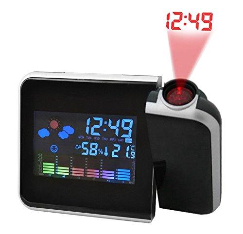 Wetterstation Projektionsuhr Funkwetterstation Uhrzeit Wettervorhersage LCD #1214