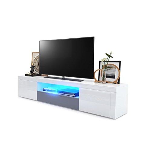 Meuble TV Armoire basse Santiago, Corps en Blanc haute brillance / Façades en Blanc haute brillance et Gris haute brillance avec l'éclairage LED